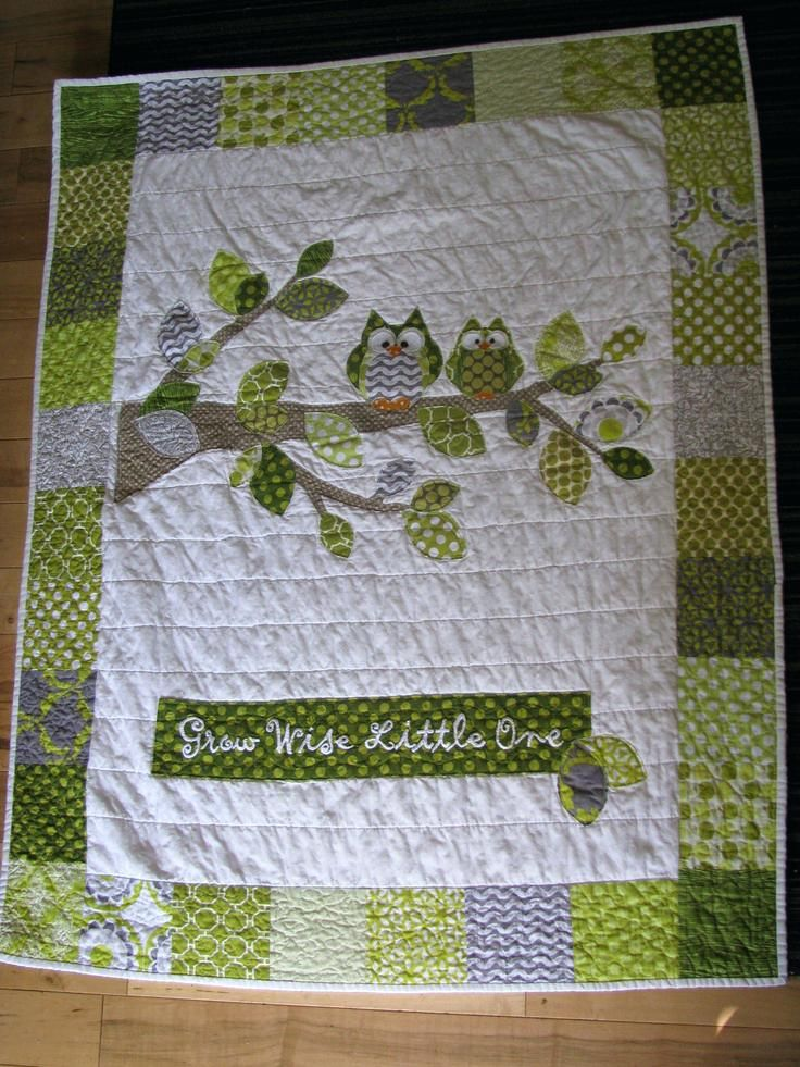 Owl Baby Quilt Kit Pinterest Owl Baby Quilts Woodland Owl Baby Quilt With Tree Branch And Owls In Citron Green Chartreuse And Owl Baby Quilts For Sale