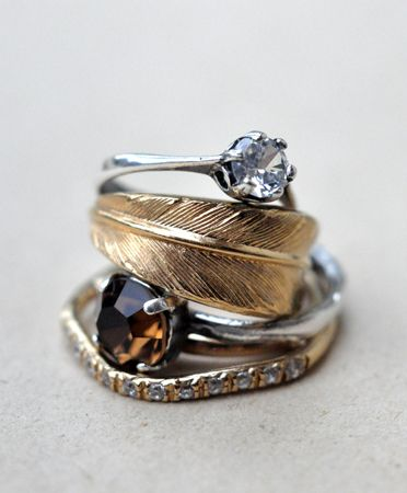 pretty nature inspired, boho rings