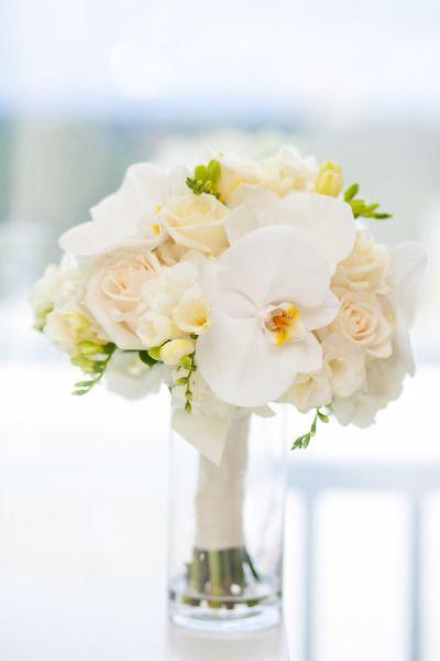 Tropical bouquet: http://www.stylemepretty.com/florida-weddings/bonita-springs/2013/11/18/gold-navy-inspiration-shoot-from-fabulously-chic-weddings-jamie-lee-photography/ | Photography: Jasmine Lee - http://jamieleephotography.com/