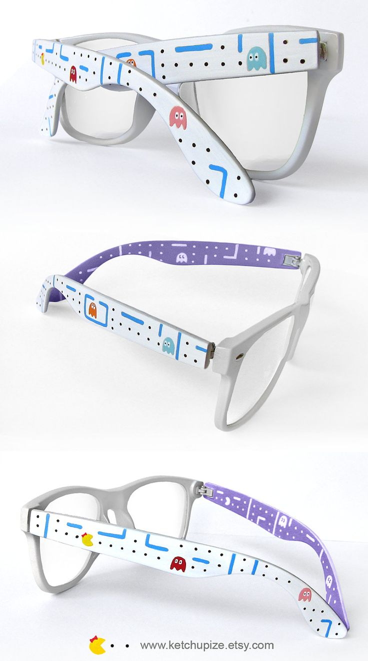 Hand painted Ms. Pac-Man frames. Perfect for any hipster-geek.