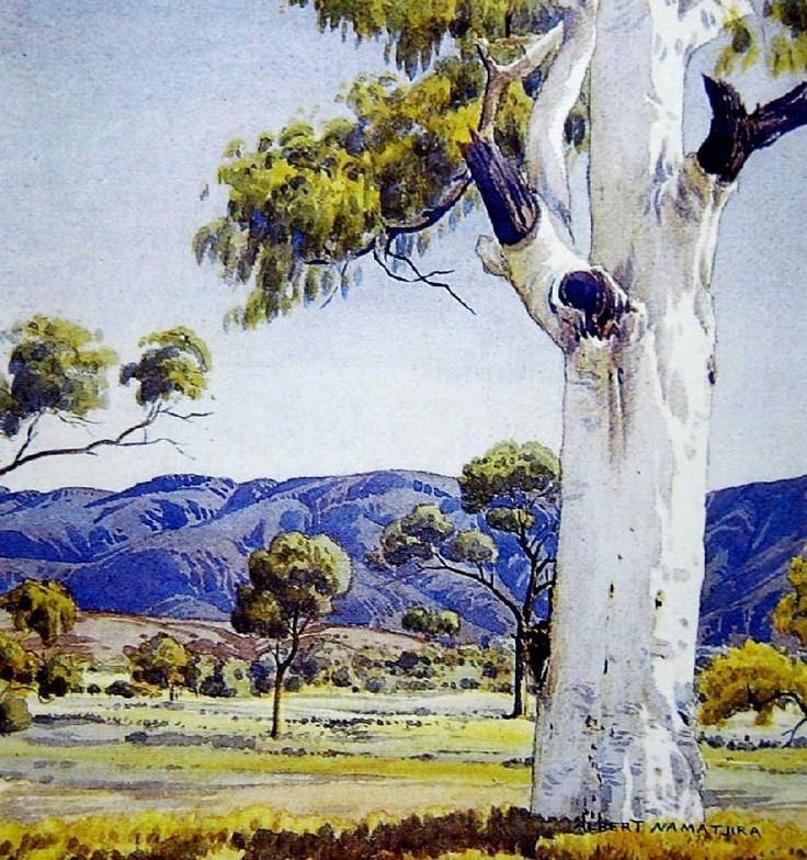 Albert Namatjira, Ghost Gum, watercolour on paper, signed lower right, 38 x 36.5 cm