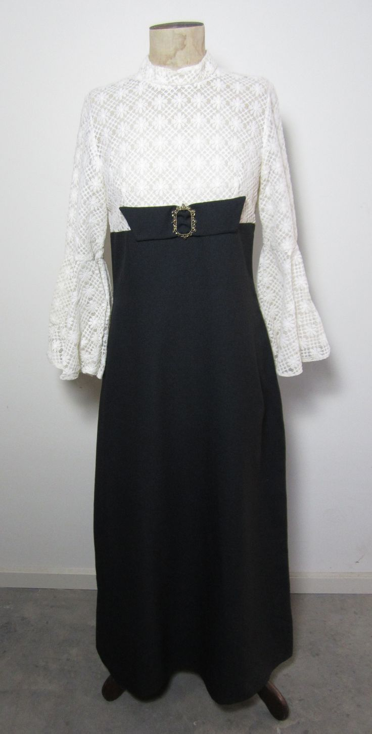 60s black and white evening dress with gold buckle