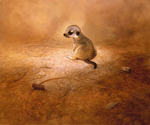 """""""Baby Meerkat"""" - Original Fine Art for Sale - © Ian Coleman"""