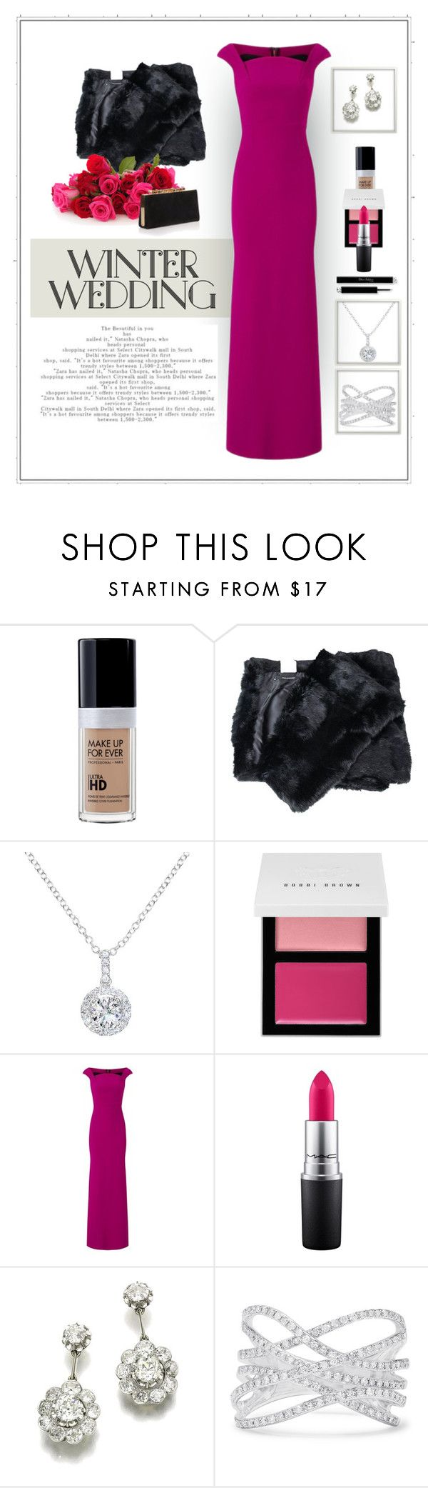"""""""Winter Wedding"""" by patricia-dimmick on Polyvore featuring Atos Lombardini, EWA, Bobbi Brown Cosmetics, Roland Mouret, MAC Cosmetics, Effy Jewelry, Jimmy Choo, gown and winterwedding"""