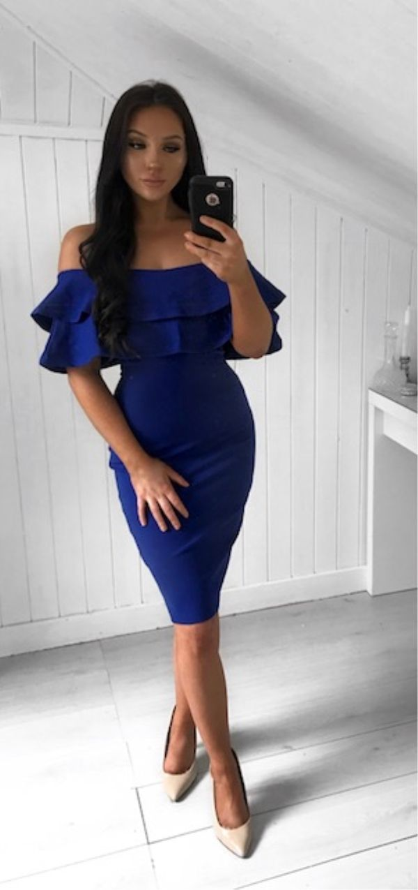 498b8f14988 Sheath Off-the-Shoulder Knee-Length Royal Blue Homecoming Dress with ...