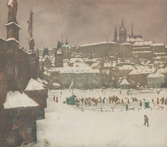 Šimon František Tavík (1877–1942)   Kluziště pod Karlovým mostem, 1916   barevný lept, papír, pasparta, 14 x 16 cm