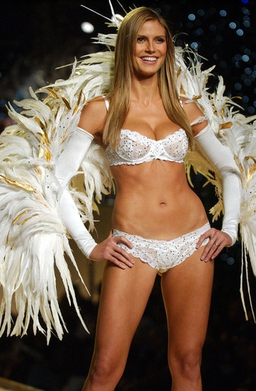 Heidi Klum showed off her wings during a Victorias Secret show in February 1999. : \