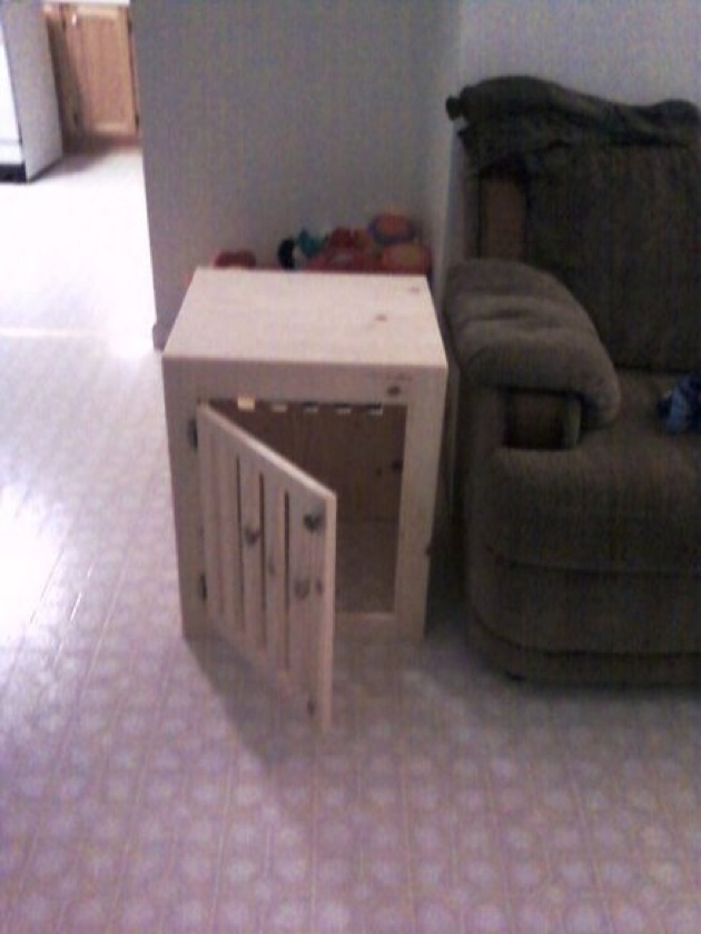 14 best images about pet projects on pinterest homemade for Pallet dog crate