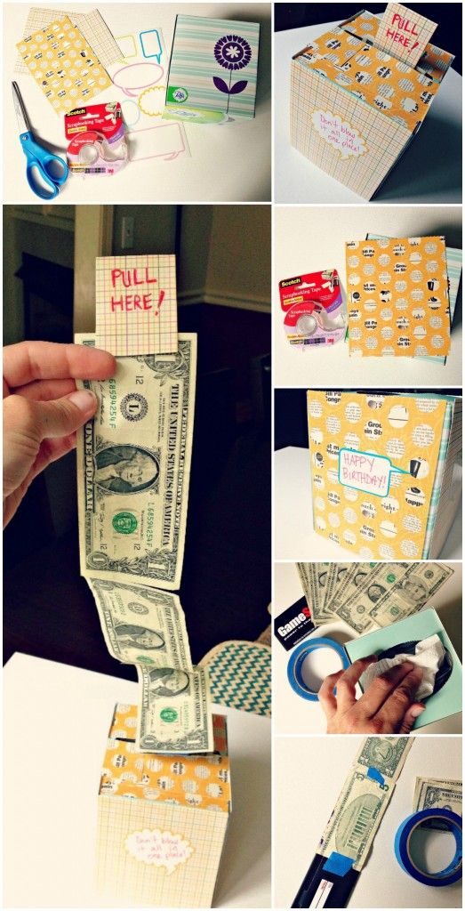 Creative ways to give a cash gift. DIY Kleenex box.