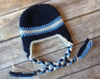 Crocheted Baby Boy Ear Flap Hat with Braided Ties, Crocheted Dark Navy Blue, Bluebell & Cream Ear Flap Hat, Newborn to 5T - MADE TO ORDER