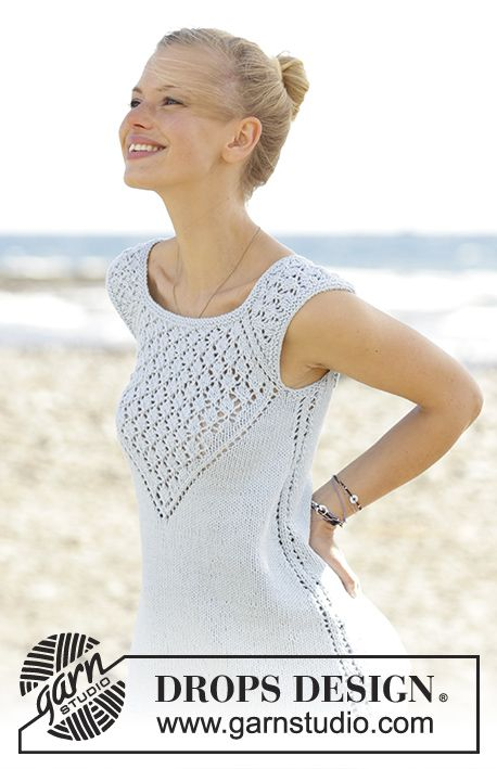 Crashing Waves top with lace pattern and raglan by DROPS Design Free Knitting Pattern