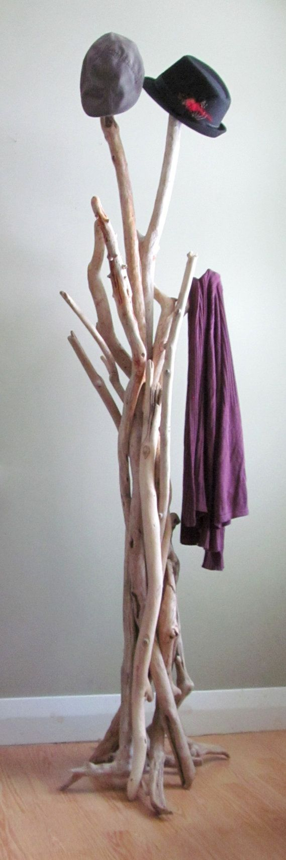 Bleach White Vertically Standing Driftwood Coat Rack by DriftingConcepts