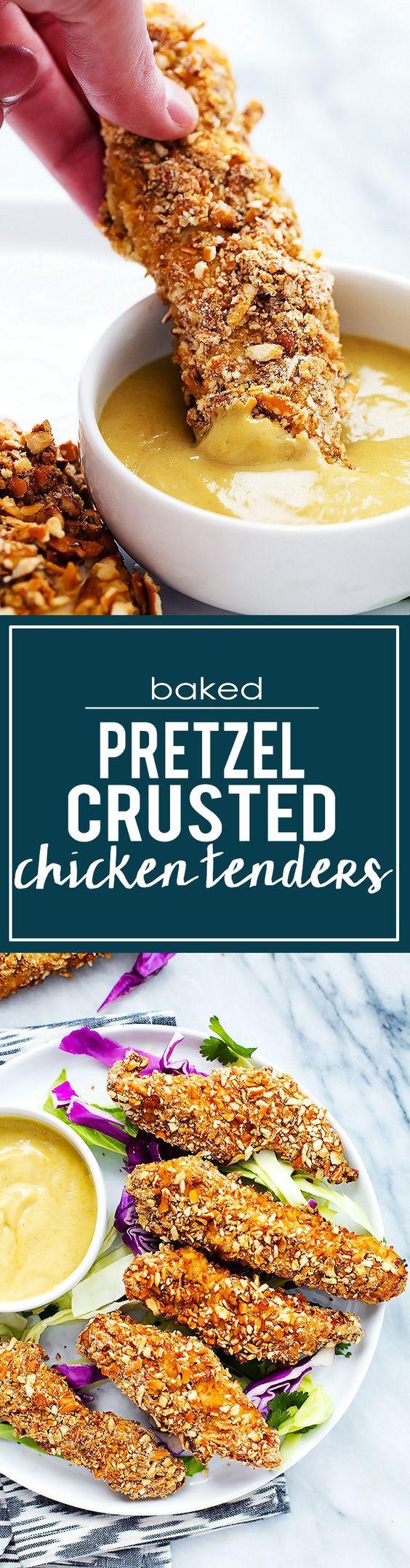 Baked Pretzel Crusted Chicken Tenders |