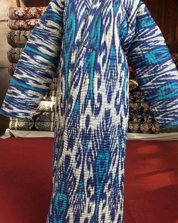 Uzbek ikat robe chapan.Handwoven Ikat Adras Cotton chapan