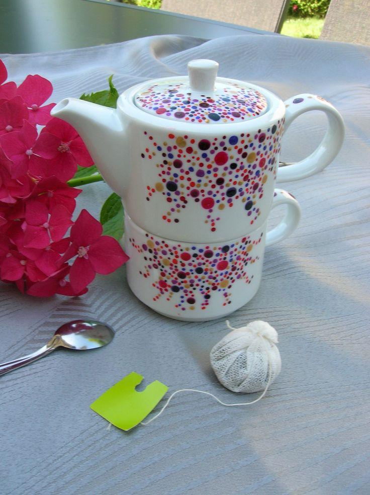 """Ensemble théière et tasse solitaire collection """"Tea for me"""" - Réalisation de peinture sur porcelaine : Vaisselle, verres par les-p-tites-choupettes"""