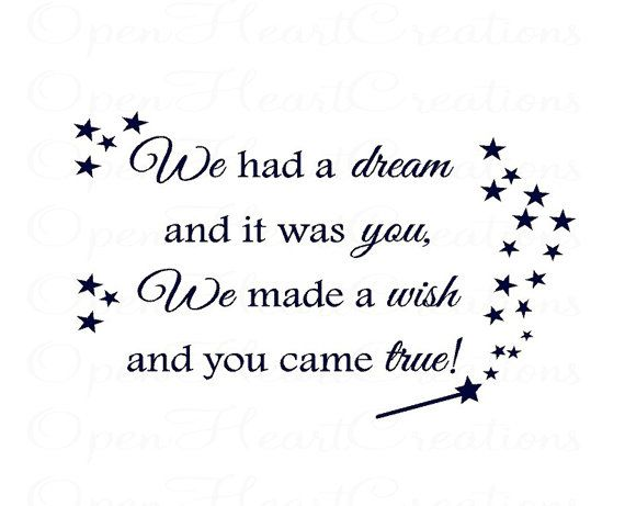 Nursery Wall Decal We Made a Wish and It by openheartcreations, $45.00