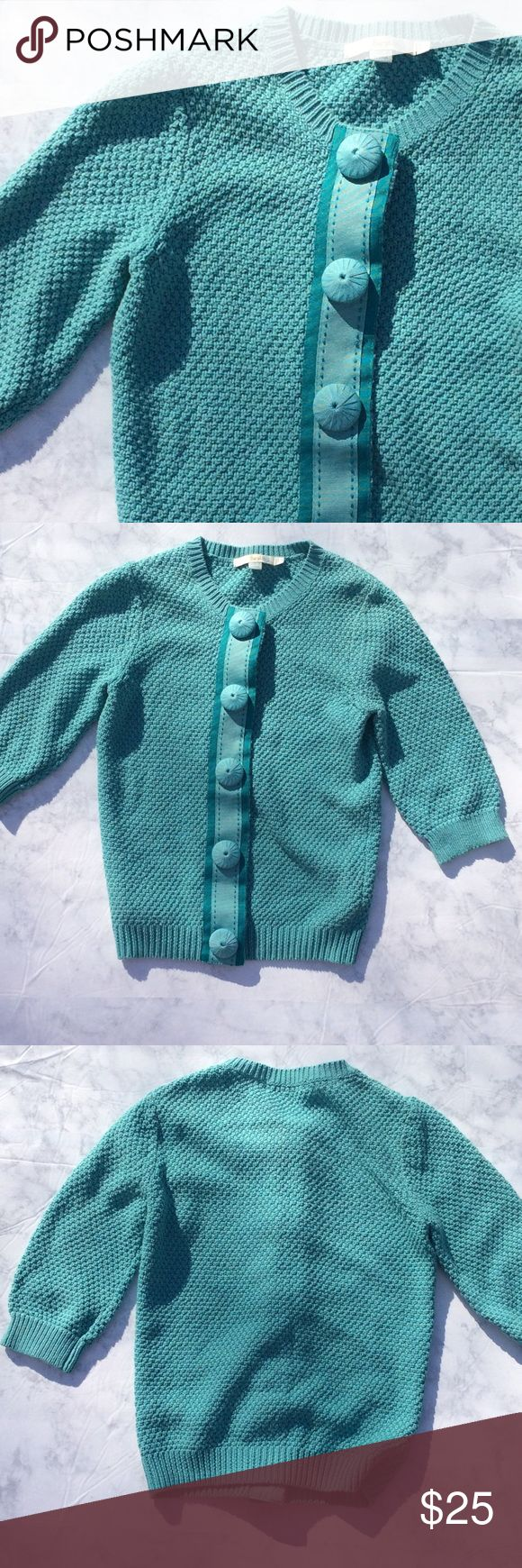 Boden Teal Cardigan Boden Teal Cardigan with ribbon accents. Size US 4. Boden Sweaters Cardigans