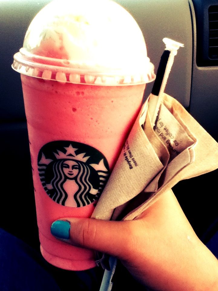 """frapacino """"cotton candy"""" Starbucks drink. With vanilla bean and two squirts of raspberry. It was pretty good but not amazing. I was expecting it to taste more like cotton candy Ice cream but really it just tasted like strawberry milk shake or something."""