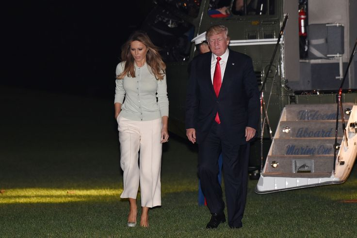 First lady Melania Trump returns to the White House on May 27, 2017 in white culottes and a mint green cardigan. Getty  via @AOL_Lifestyle Read more: https://www.aol.com/article/lifestyle/2017/05/23/melania-ivanka-trump-israel-holocaust-memorial-dress/22105640/?a_dgi=aolshare_pinterest#fullscreen