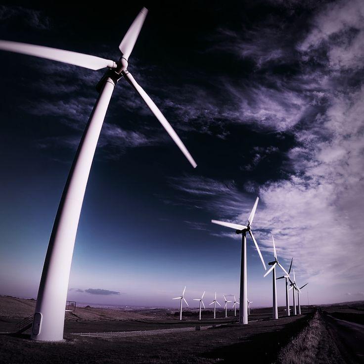 Wind turbines at Royd Moor Wind Farm, South Yorkshire, UK.