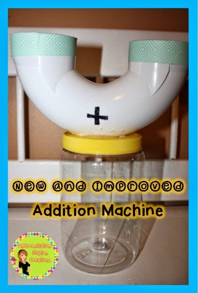 New and Improved Addition Machine. Use a clear plastic jar as the base of your addition machine. This allows kids to actually watch the manipulatives fall through. Great for teaching the concept of addition.