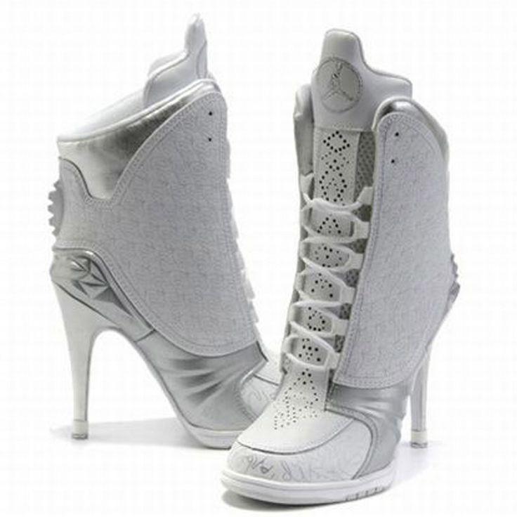 Nike Heel, Nike Air Jordans, Nike High Heels, White High Heels, Jordan Heel, High Heel Shoes, High Heels Shoes, Shoes Heels