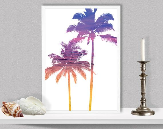 Beach Palm Trees Silhouette Ombre Sunset Colours by LochnessStudio, $27.00