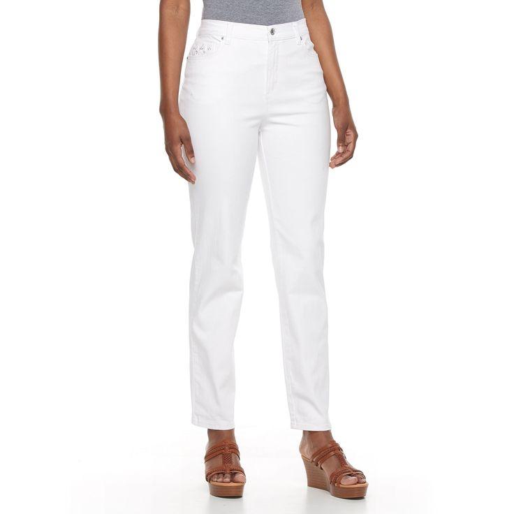 Women's Gloria Vanderbilt Tapered-Leg Jeans, Size: 8 - regular, White
