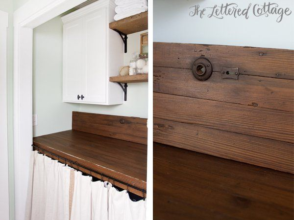 laundry room makeover old door as countertop reclaimed