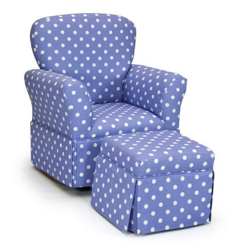 Kids rocking chair and ottoman set lilac white dots for Childrens rocking chair with footstool