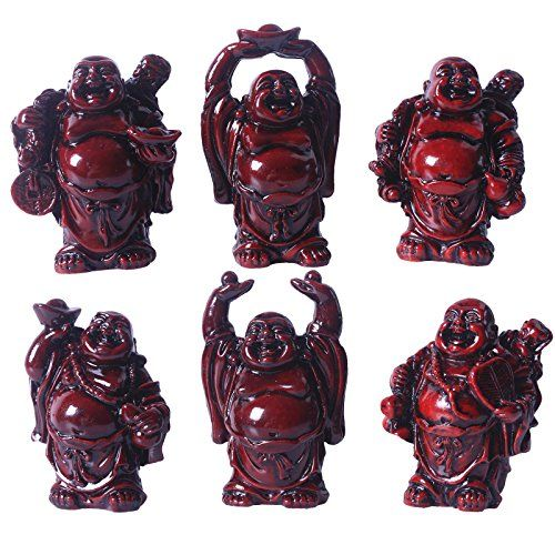 Laughing Buddha Figurines Lucky Happy Buddha StatueSet of 6about 25 RED ** BEST VALUE BUY on Amazon