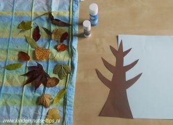 Herfstboom met echte blaadjes. Knutselen met Kinderen, knutselen voor peuters.   http://kinderknutseltips.nl/herfstboom-met-echte-blaadjes-knutselidee-herfst/
