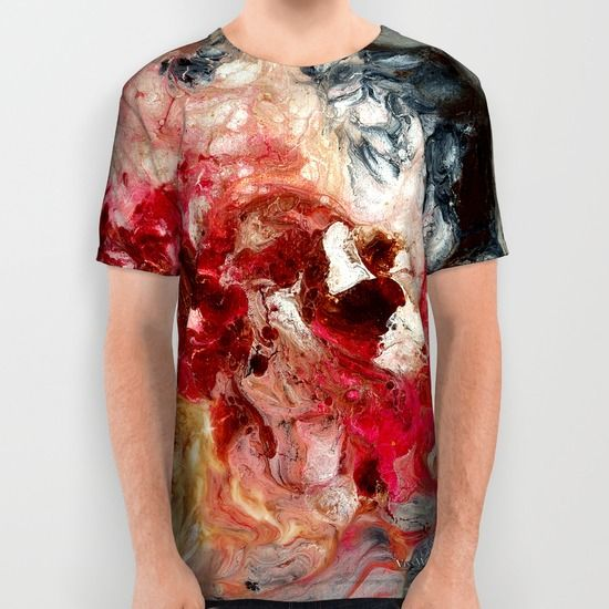 Red and black dramatic swirls abstract unisex T-shirts for men and women by Vinn Wong | Full collection vinnwong.com | International Shipping | Visit the shop or Pin it For Later!