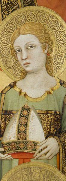Maestro di Figline, Madonna col Bambino, angeli e i Santi Elisabetta d'Ungheria e Ludovico di Tolosa. Particolare di un angelo