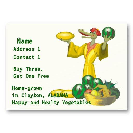 Home-grown Vegetables Business Card #businesscards
