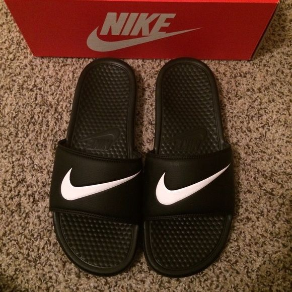 Men's Nike sandals New never used. Men's Nike Benassi Swoosh sandals. Too small for my husband. Nike Shoes Sandals