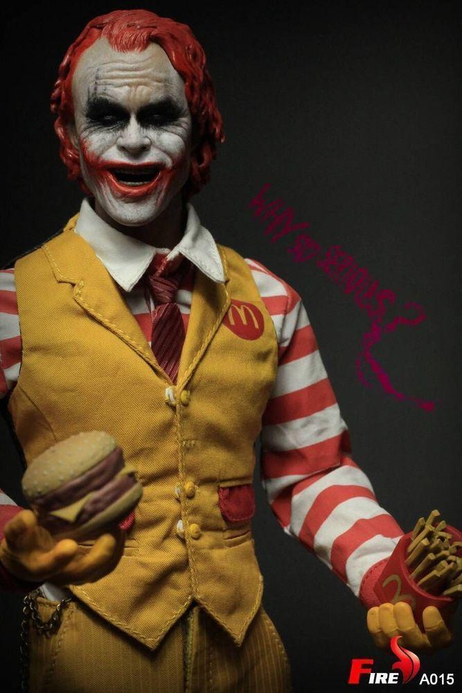 1//6 Figure Batman Joker Burger Junk Food Clown Action Figure W//2 Heads Model Toy