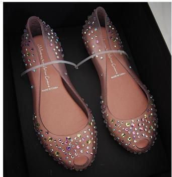 2014 Ladies Melissa Swarovski Diamond Crystal flat heel Sandals Women Fish Mouth Transparent Jelly Shoes open toe femal  £29.49