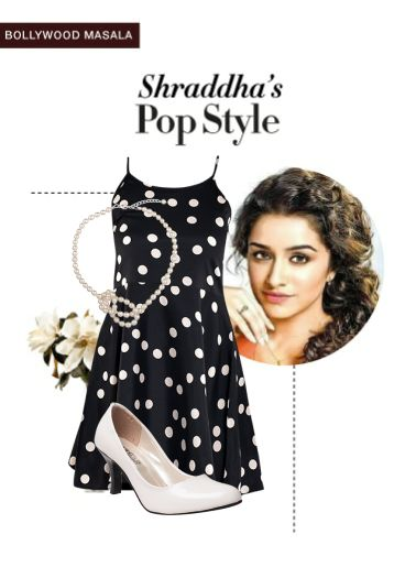 'Shraddha's pop style' by me on Limeroad featuring Polka Dots Black Dresses, White Necklaces with White Pumps