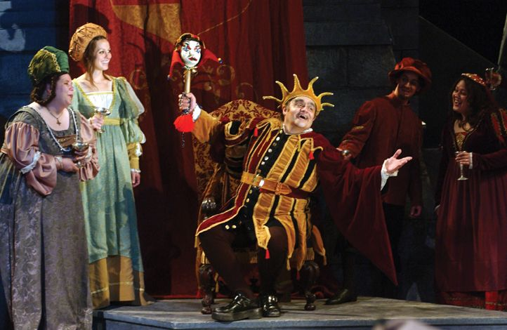"A scene from ""Rigoletto"" by Giuseppi Verdi. The character of Rigoletto is that of a court jester with a resentful heart against his patron, a womanizer, the Duke of Mantua. Rigoletto's daughter is in love with the Duke, and Rigoletto wants revenge. Never a good thing; it backfires on himself."