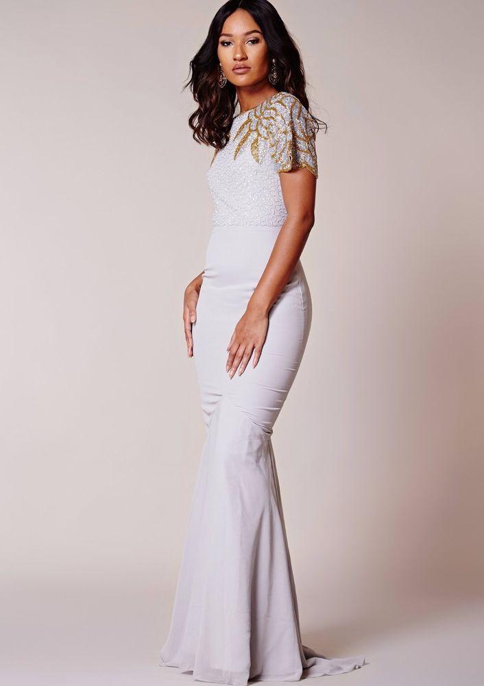 53a7e875ef0 Virgos Lounge Grey Ansley Embellished Party Bridesmaid Prom Maxi Dress 8 to  18  VirgosLounge