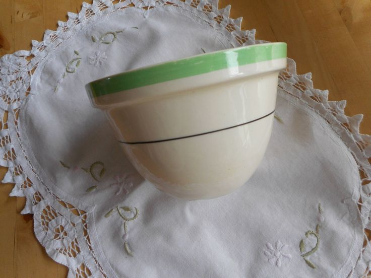 Steamed pudding basin by Myott, made in England, number 36, light cream colour with a green bands and black stripe. by JoLaon on Etsy