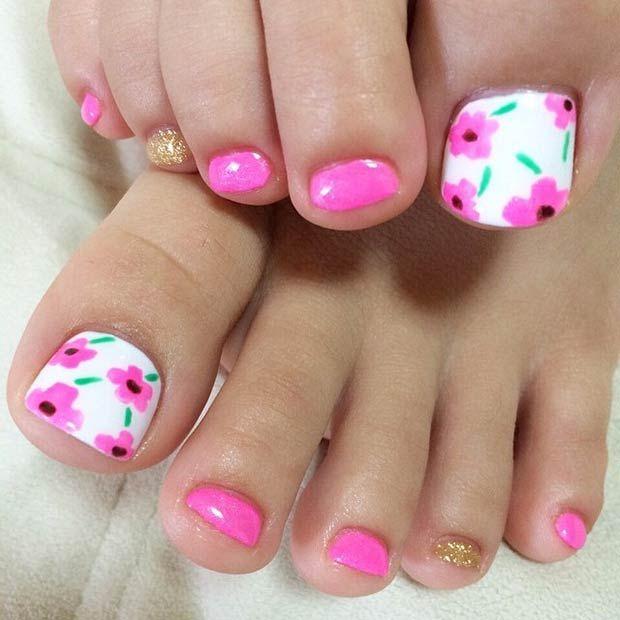 Pink Flower Toe Nail Design