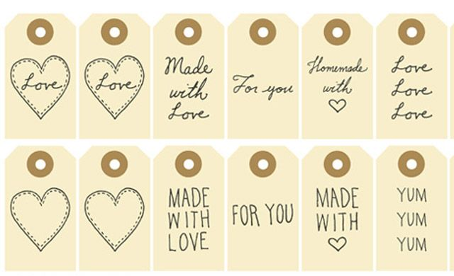 Free Printable - Made with Love, For You Gift Tags