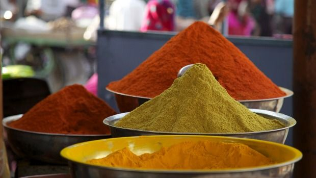 Spices for sale in a Jaipur market.