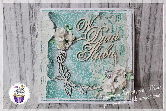 Pracownia artystyczna IKart: Miętowe Love - kartka ślubna