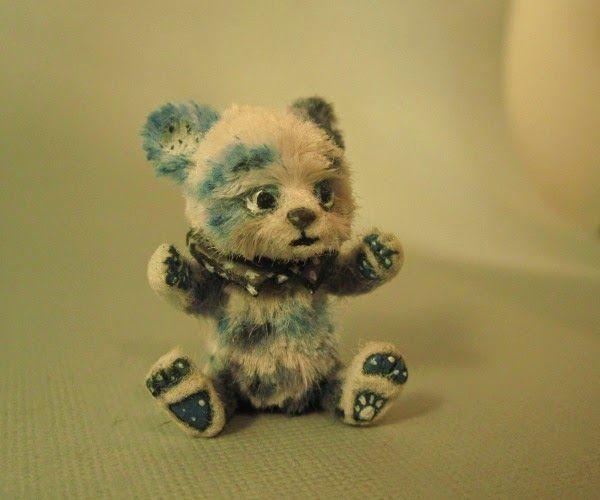 "Aleah Klay Studio: Miniature Teddy Bear ""calico blue"" Ebay auction"