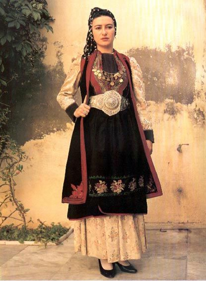 Traditional festive costume from Konitsa, (Epirus, northern Greece).  Urban dress, early 20th century style.