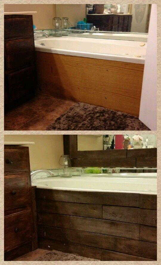 Before & After....Covered our bathtub and framed mirror with old pallet wood .  Looks like a different bathroom now.