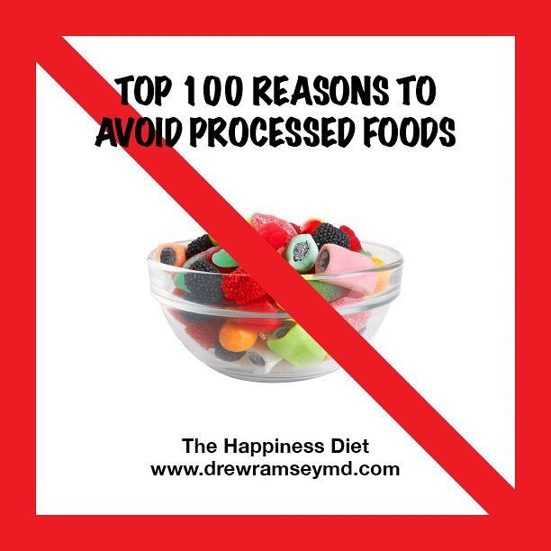 """Heard that saying - In with the good sh*t, out with the bullsh*t? Processed foods are a bunch of BS for your health - why we came up with 100 reasons to avoid them in 'The Happiness Diet'. I spent hours in the grocery store reading labels and researching. In the natural world - red means ripe! Red means lycopene! In the world of #processedfoods? Many foods get their red coloring – """"carmine"""" –from ground-up insect shells that can cause a severe #allergicreaction in some people. Just don't…"""